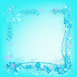 Frozen nature, snowflakes and ice. Decorative frame with snowflakes and frozen leafs, ideal for christmas cards Stock Photos