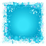 Frozen nature, snowflakes and ice. Decorative frame with snowflakes and frozen leafs, ideal for christmas cards Stock Images