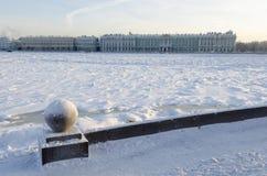 Frozen Neva river Stock Photo