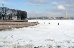 Frozen Neva river panorama Stock Image