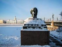 Frozen Neva River in winter Stock Image