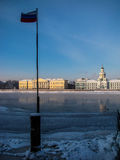 Frozen Neva River in winter Stock Photography