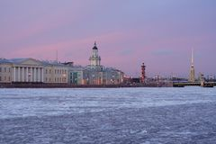 The frozen Neva at sunset. A wintery st. Petersburg, Russia, where the river Neva freezes up Royalty Free Stock Image