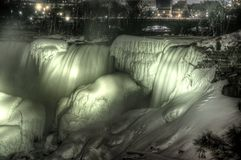 Frozen Niagara Falls at Night Royalty Free Stock Photography
