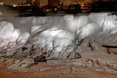 Frozen Niagara Falls at Night Royalty Free Stock Photo