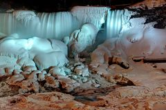 Frozen Niagara Falls at Night Royalty Free Stock Image