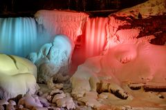 Frozen Niagara Falls at Night Stock Photos