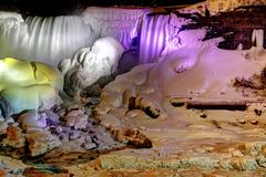 Frozen Niagara Falls at Night Royalty Free Stock Photography