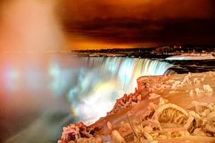 Frozen Niagara Falls at Night Royalty Free Stock Images