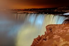 Frozen Niagara Falls at Night Stock Images