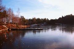 Frozen november lake royalty free stock image