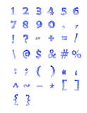 Frozen numbers and symbols. In blue font Stock Images