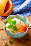 Frozen orange yogurt Royalty Free Stock Image