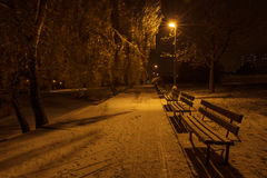 Frozen park benches at night. Frozen park benches with icicles and footprints in the snow Royalty Free Stock Photography