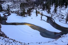 The frozen parvati river stock image