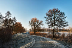 Frozen path along the river. Frosty winter morning Stock Photo