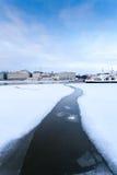 Frozen Path. Path cracked through snow ice frozen sea Royalty Free Stock Photo