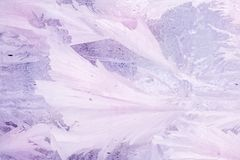 Frozen pattern on the window glass in the winter and tinted in purple.  royalty free stock images