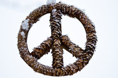 Frozen Peace Sign Against a Light Background Royalty Free Stock Images