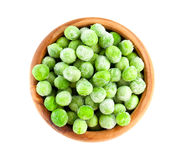 Frozen Peas In Wooden Bowl Royalty Free Stock Images