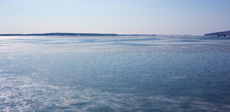Frozen Penobscot Bay. A wide angle view of Penobscot Bay in winter Royalty Free Stock Photo
