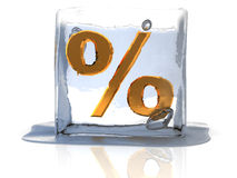 Frozen percent. 3d illustration of frozen percent sign Royalty Free Stock Photo