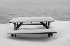 Frozen picnic table Royalty Free Stock Image