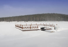 Frozen pier Royalty Free Stock Photos