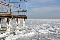 Frozen pier Royalty Free Stock Photo