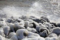 Frozen pier in Afsluitdijk Royalty Free Stock Photo