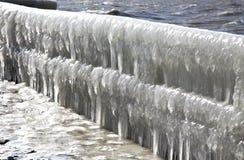 Frozen pier in Afsluitdijk Royalty Free Stock Image