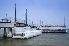 Frozen pier at Baltic Sea in Gdansk. Poland Stock Images