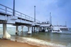 Frozen pier at Baltic Sea in Gdansk. Poland Royalty Free Stock Photography