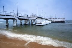 Frozen pier at Baltic Sea in Gdansk. Poland Stock Photography
