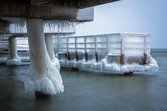 Frozen pier at Baltic Sea in Gdansk. Poland Royalty Free Stock Photo