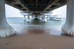 Frozen pier at Baltic Sea in Gdansk. Poland Stock Photos