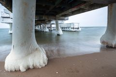 Frozen pier at Baltic Sea in Gdansk. Poland Royalty Free Stock Photos