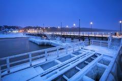 Snowy pier at Baltic Sea in Gdansk. Frozen pier at Baltic Sea in Gdansk, Poland Stock Images