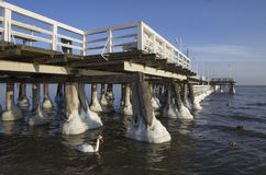 Frozen pier on the baltic sea in the Poland. In the city Sopot Royalty Free Stock Photography