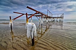 Frozen pier Stock Photography