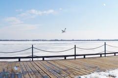 Frozen Pier Stock Photo