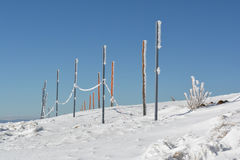 Frozen pilars with rope Royalty Free Stock Images