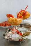 Frozen pink grapefruit granita slush drink Stock Photo