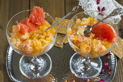 Frozen pink grapefruit granita slush drink Stock Images