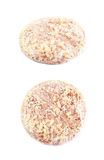 Frozen pizza isolated. Frozen pizza in a plastic wrapping with the cheese, ham and pineapples isolated over the white background, set of two different Stock Photography