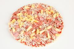 Frozen pizza with pinapple and ham. A frozen pizza with pinapple and ham Royalty Free Stock Photos