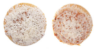 Frozen Pizza Raw and Cooked Stock Image