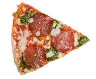Frozen pizza slice salami and pesto Royalty Free Stock Image