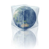 Frozen planet earth. Australia and part of Asia. Planet earth inside 3D ice cube. Elements of this image furnished by NASA Stock Photography