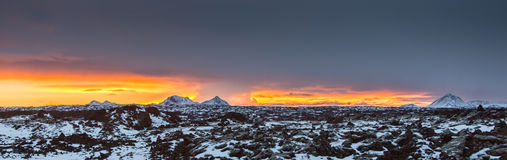 Frozen Planet. One of the last sunsets of 2013. Seen from Reykjavik, Iceland royalty free stock photos